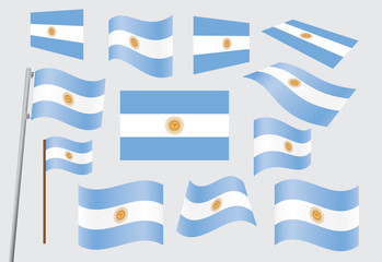 set of flags of Argentina vector illustration