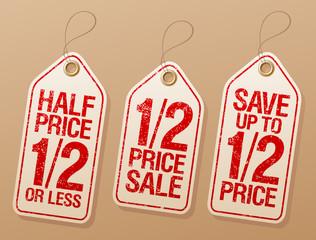 Half price save, promotional sale labels set