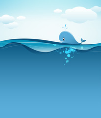 Whale in blue sea background, vector