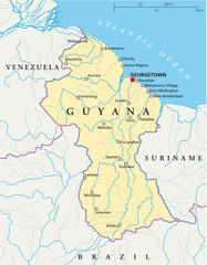 Guyana political map with capital Georgetown, national borders, most important cities and rivers. English labeling and scaling. Illustration. Vector.