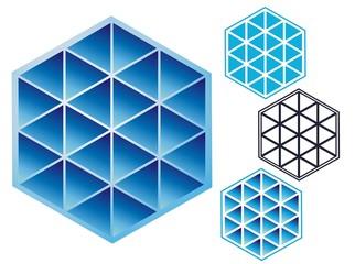 Triangles in a hexagon emblem