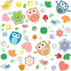 Seamless background with owls, leafs, mushrooms and flowers