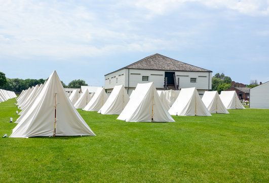 Soldiers tents at Military encampment
