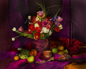 bouquet of tulips on a red and purple background