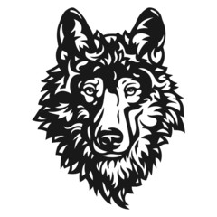 Stylized vector gray wolf head