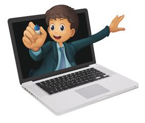 laptop and man
