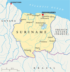 Suriname political map with capital Paramaribo, national borders, most important cities, rivers and lakes. With English labeling and scaling. Illustration. Vector.