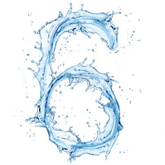 "Water splashes number ""6"" isolated on white background"