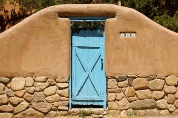New Mexico Adobe Blue Doorway