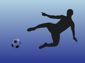 Male football player before goal