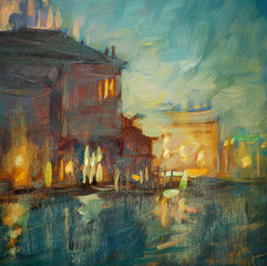 night landscape to Venice, painting by oil on a canvas