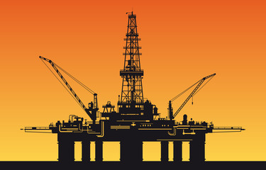 Oil derrick in sea