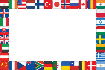 frame made of world flag icons vector illustration