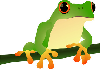 cartoon illustration of a frog sitting