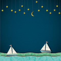 Sailboats at night. Vector paper-art