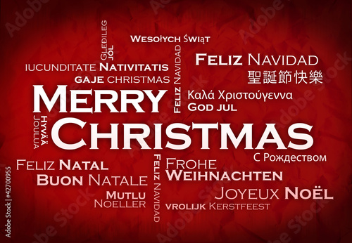 Merry Christmas international language word tag cloud
