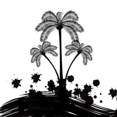 Palm tree logo black and white