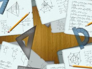 school math calculations on a wooden desk illustration