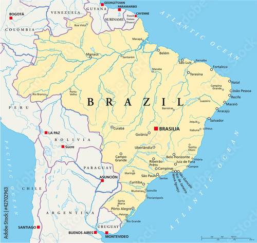 Brazil political map with capital brasilia national borders most brazil political map with capital brasilia national borders most important cities rivers and gumiabroncs Image collections