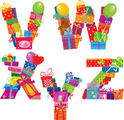 VWXYZ - english alphabet - letters are made of gift boxes