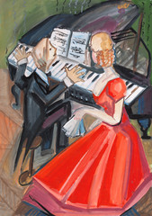 woman in red dress and pianist