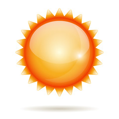 Yellow sun vector glossy label isolated on white.