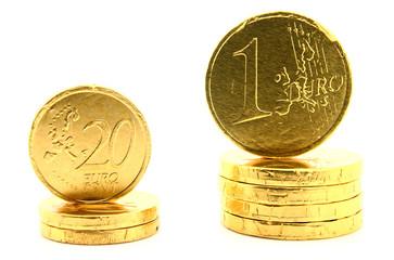 Euro coins on white