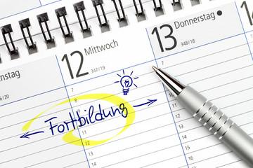 Terminkalender mit Eintrag für Fortbildung