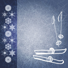 Blue grunge winter background with ski and poles. EPS10