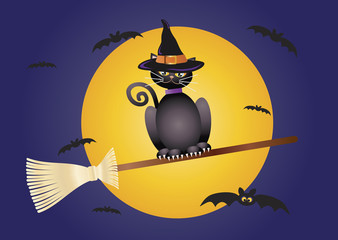 Halloween Cat Flying on Broomstick Illustration