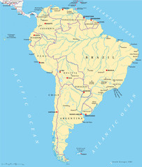 South America political map with single states, capitals, most important cities, national borders, lakes and rivers. Illustration with English labeling and scaling. Vector.