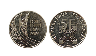 The French-five francs. 100 years of the Eiffel Tower