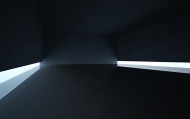 Abstract black interior with transoms located near the floor.