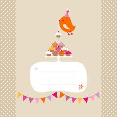 Flying Orange Bird 10 Cupcakes Buntings Speech Bubble Beige Dots