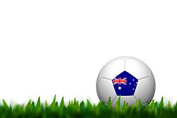 3D Soccer balll Australia Flag Patter on green grass over white