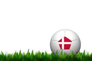 3D Soccer balll Denmark Flag Patter on green grass over white ba