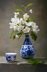 Apple flowers in a chinese vase