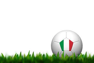 3D Soccer balll Italy Flag Patter on green grass over white back