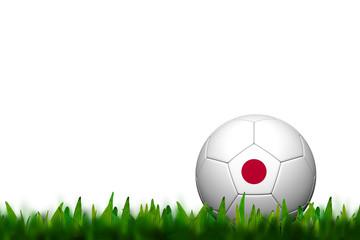 3D Soccer balll Japan Flag Patter on green grass over white back