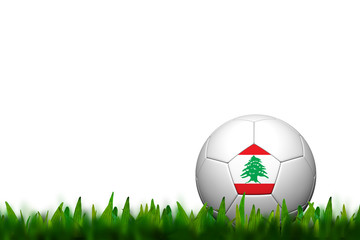 3D Soccer balll Lebanon Flag Patter on green grass over white ba