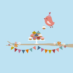 Flying Bird 10 Cupcakes 2 Buntings Tree Retro Colors
