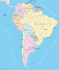 South America political map with single states, capitals, national borders, lakes and rivers. Illustration with English labeling and scaling. Vector.