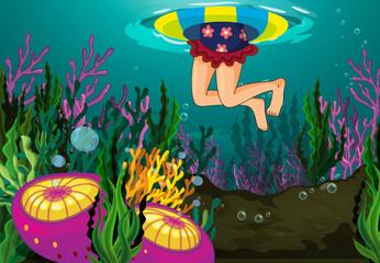 Wall Murals Submarine a girl swimming