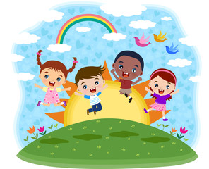 Poster Rainbow Multicultural children jumping on the hil