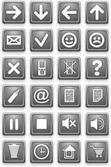 Set of icons. Square pictograms of gray color.