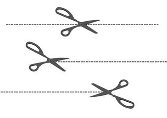 Vector set of cutting scissors