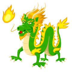 Cartoon illustration of chinese dragon