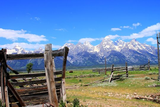 Grand Tetons viewed from an abandoned farm