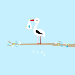 """Tall Stork With Baby Boy On Tree """"It´s a Boy"""" Blue"""