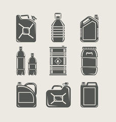 plastic and metallic can set icon vector illustration